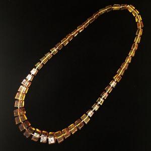 Jewelry - Heavy Amber Geometric Cut Medium Length Necklace